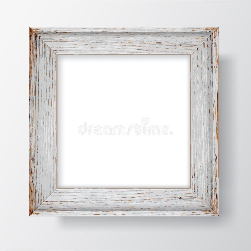 Hölzerner flockiger Rahmen des quadratischen freien Raumes auf weißer Wand Rand der Farbband-, Lorbeer- und Eichenblätter lizenzfreie abbildung