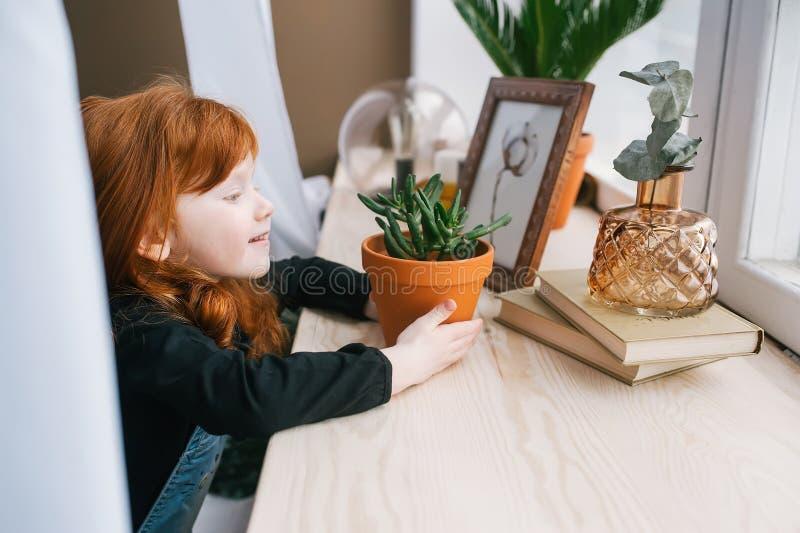 Hübsches Rothaarige litlle Mädchen, das bei Tisch mit grüner Blume im Topf, Bücher sitzt stockfotografie