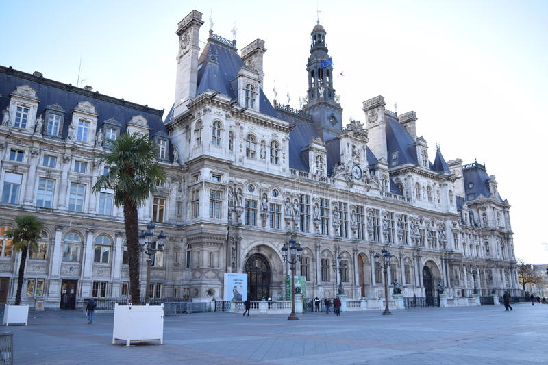 HÃ'tel de ville巴黎 免版税库存照片