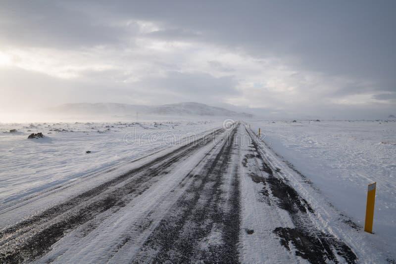 Häftig snöstorm Island, Europa arkivfoton