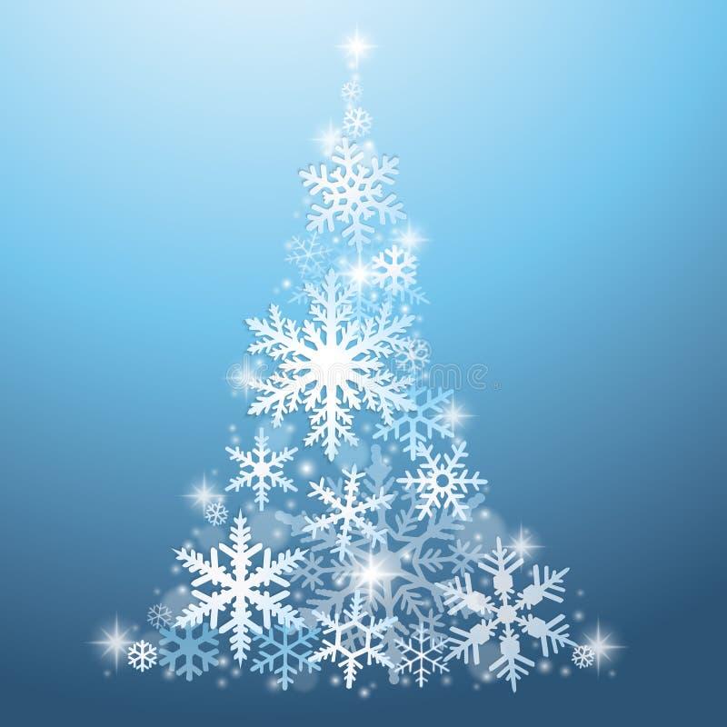 häftig snöstormjulen tecknar treen för effektpälssnowflakes som vektor illustrationer