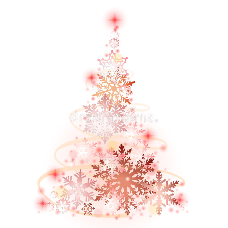 häftig snöstormjulen tecknar treen för effektpälssnowflakes som stock illustrationer