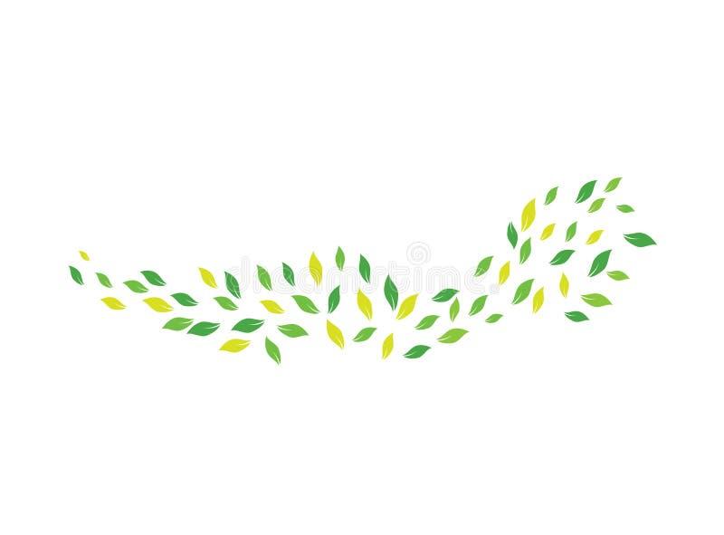 Häftiga rörelsen lämnar i en blåsig dag för logodesignvektorn, stormsymbolen, natursymbol royaltyfri illustrationer