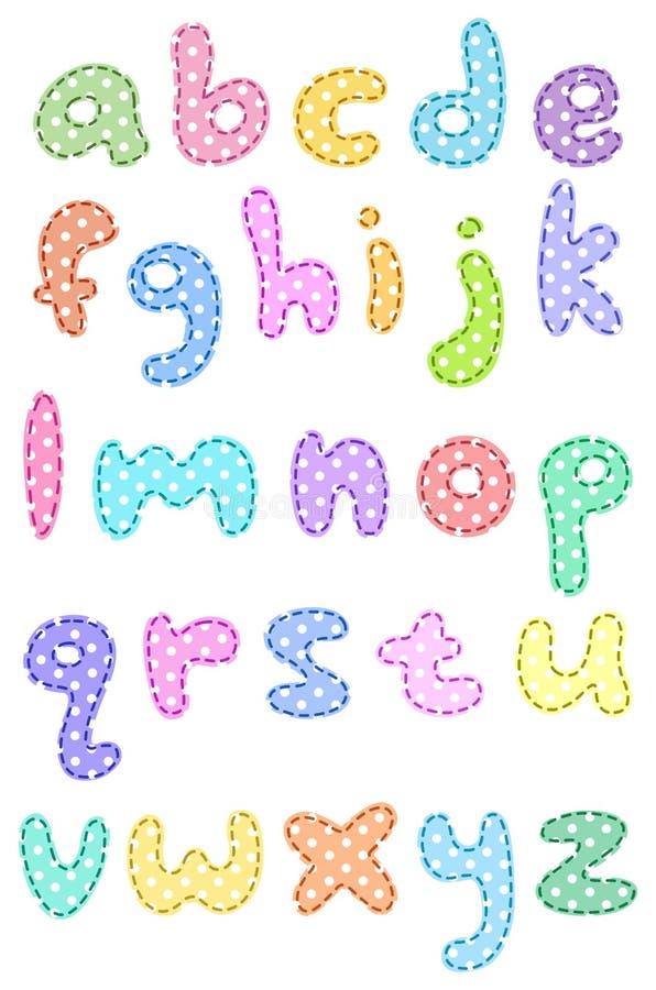 häftklammer för polka för alfabetfallprick lägre stock illustrationer