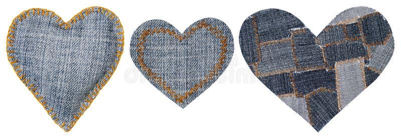 Häftklammer söm, valentindag för objekt för jeanshjärtaShape lapp royaltyfri fotografi