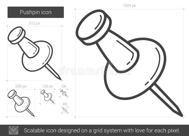 Häftstiftlinje symbol stock illustrationer