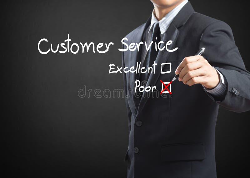 Häkchen auf schlechtem Kundendienst-Auswertungsbogen stockfotografie