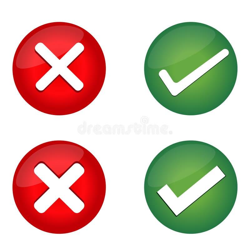 Häkchen, falscher Mark Icons vektor abbildung