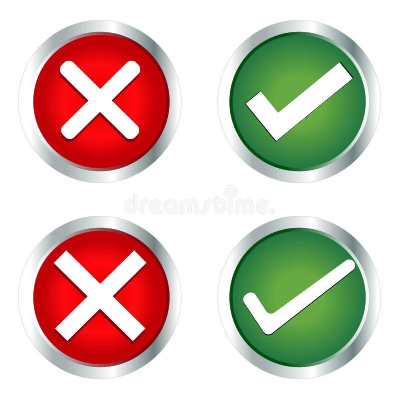Häkchen, falscher Mark Icons lizenzfreie abbildung