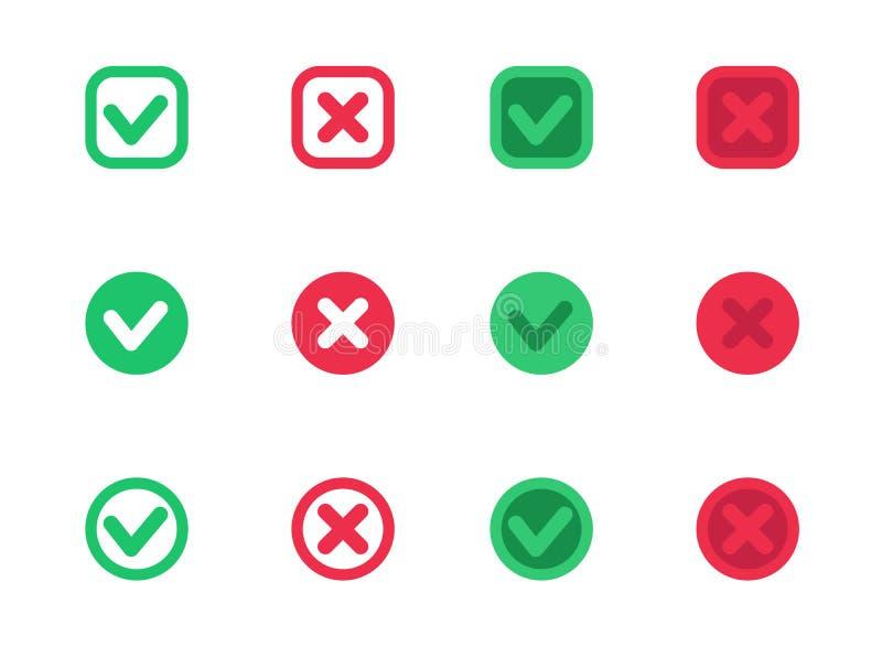 Häkchen, Vektorzecken, Kreuze, Rot und Grün lizenzfreie abbildung