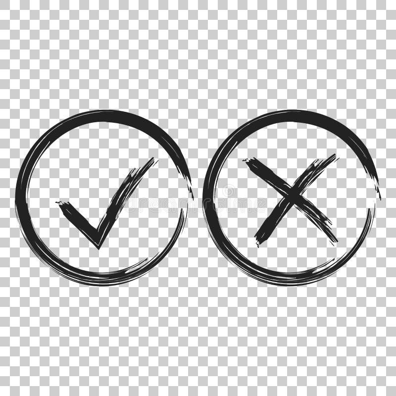 Häkchen Zecken- und Kreuzikone Vektorillustration an auf isola vektor abbildung