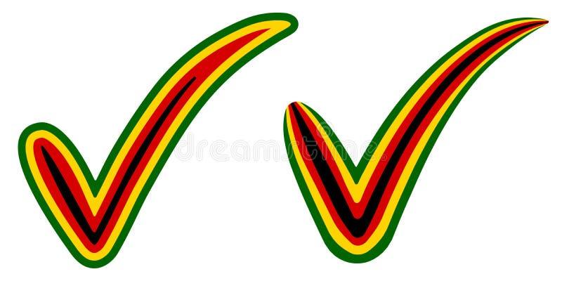 Häkchenart Simbabwe-Flaggensymbolwahlen, Abstimmung und Zustimmung, Vektorkonzepthäkchen Russe-Simbabwe-Zecke stock abbildung