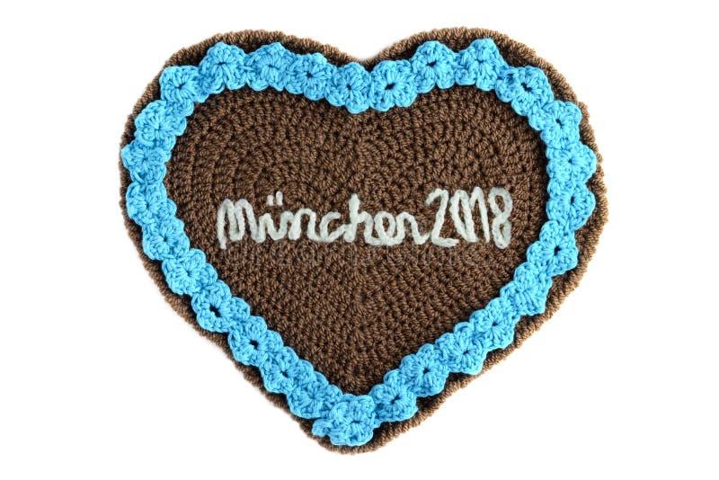 Häkelarbeit-Lebkuchenherz Oktoberfest Muenchen Engl. 2018 Octo stockbild
