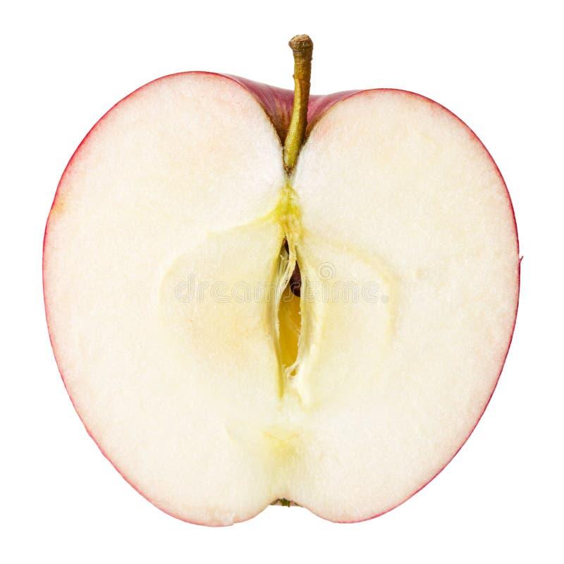 Hälft av det röda äpplet royaltyfri bild