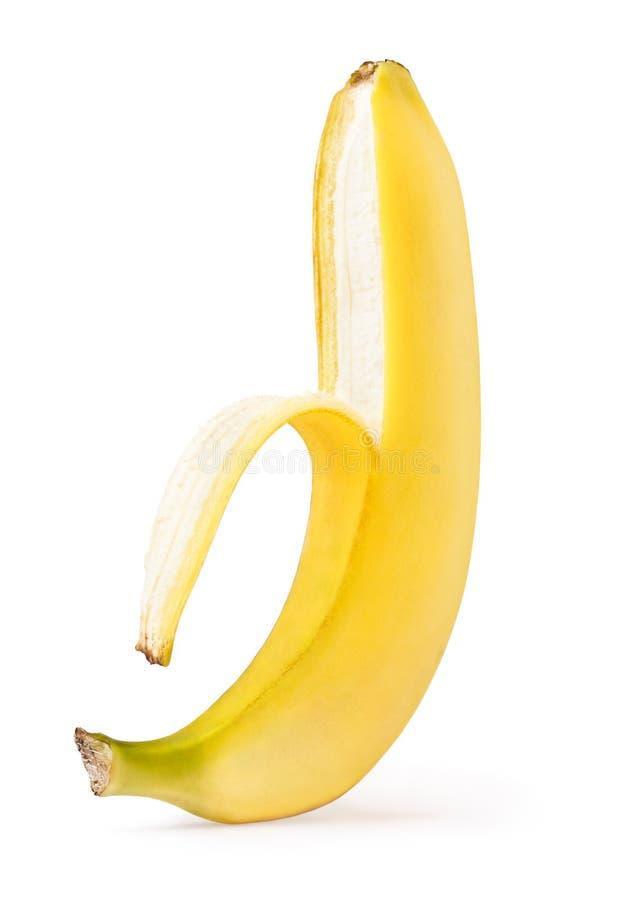 Hälfte abgezogene Banane lizenzfreie stockfotos