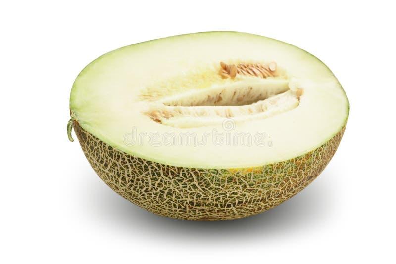 Hälfte der Melone lokalisiert auf weißem Hintergrund lizenzfreie stockfotos