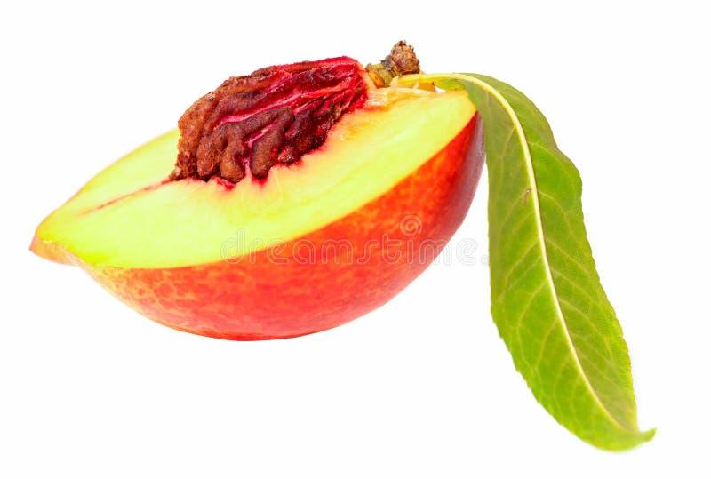Hälfte der Nektarinefrucht mit Blatt lizenzfreie stockbilder