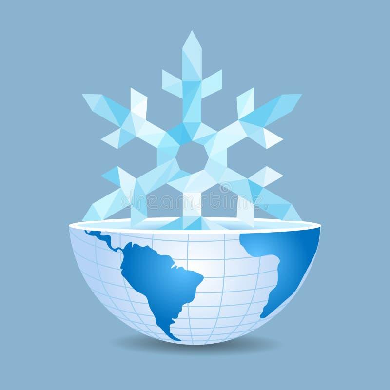 Hälfte der Welt innerhalb des Polygons mit Weihnachtsschneeflocke an stock abbildung