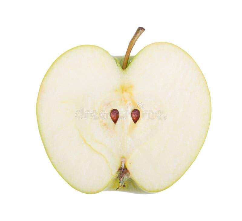 Hälfte des grünen Apfels lizenzfreies stockbild