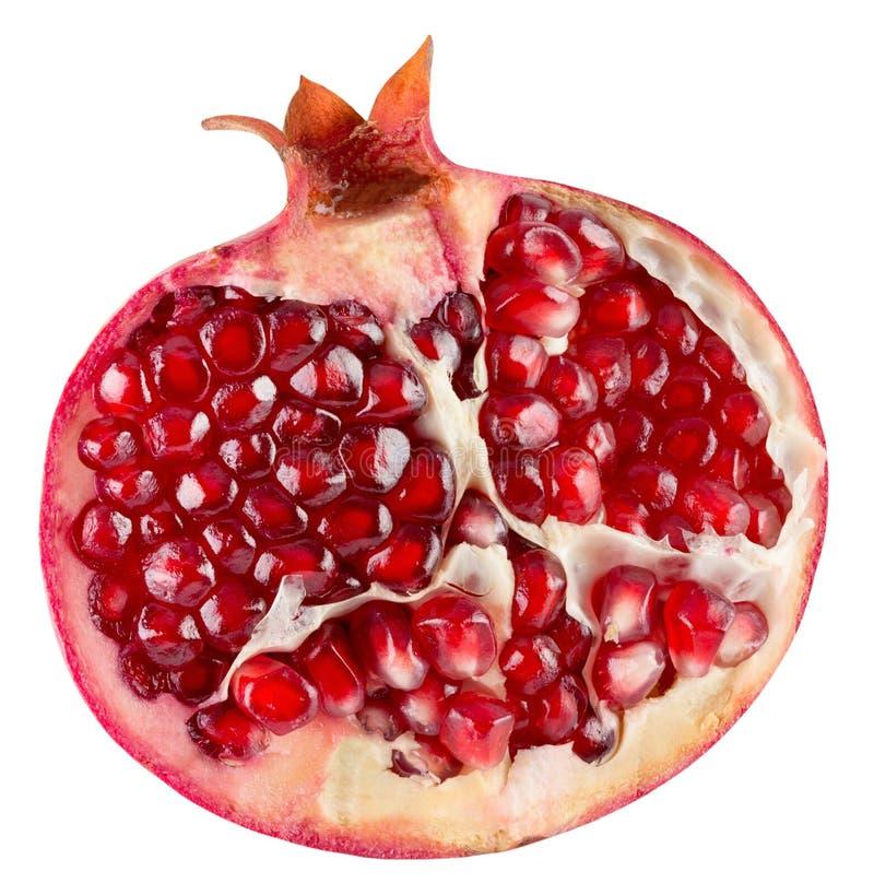 Hälfte des Granatapfels lokalisiert auf dem weißen Hintergrund lizenzfreies stockfoto