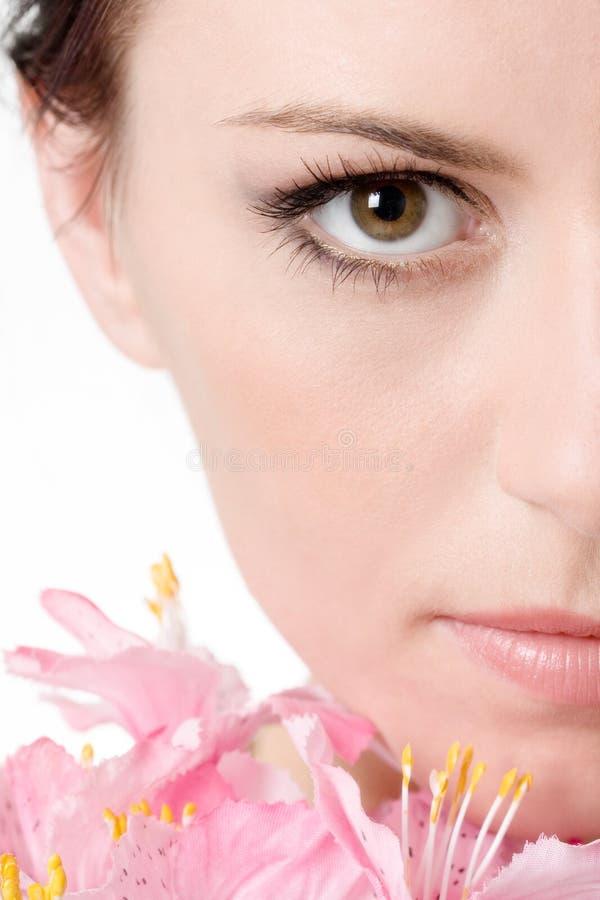 Hälfte des schönen Gesichtes lizenzfreies stockbild