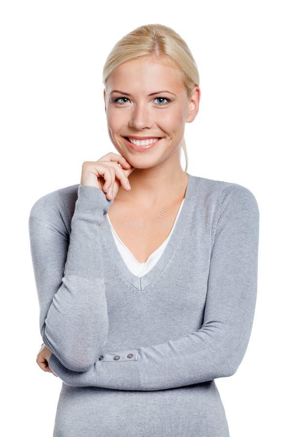 Hälfte-langes Porträt der smileyfrau lizenzfreie stockfotos