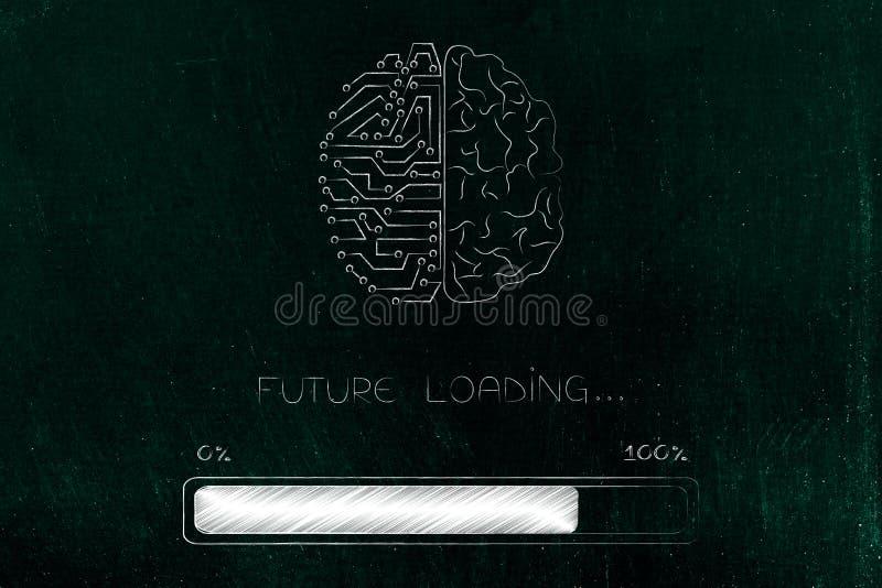 Hälfte menschliches halbes Stromkreisgehirn mit Fortschrittsstange und zukünftigem ladendem Text stock abbildung