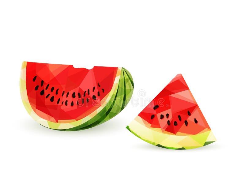 Hälfte und Stück der saftigen Wassermelone in der niedrigen Polyart, lokalisiert auf weißem Hintergrund stock abbildung
