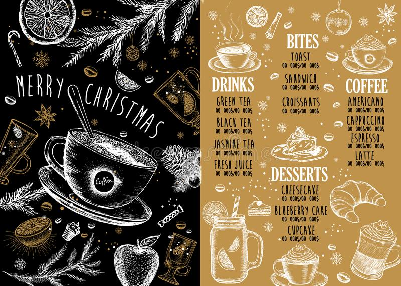 Häll kaffebönor Restaurangkafémeny, malldesign Matreklamblad stock illustrationer