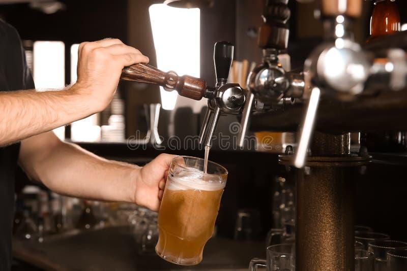 Hällande öl för bartender från klappet in i exponeringsglas i stång fotografering för bildbyråer