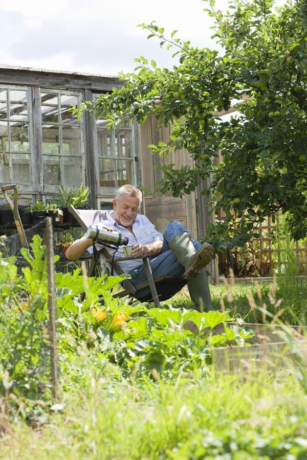 Hällande drink för hög man, medan sitta i trädgård arkivfoton