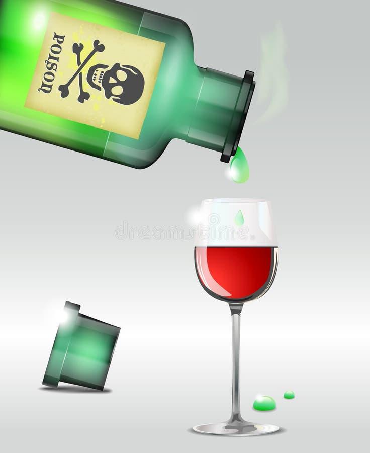 Hällande gift in i winen stock illustrationer