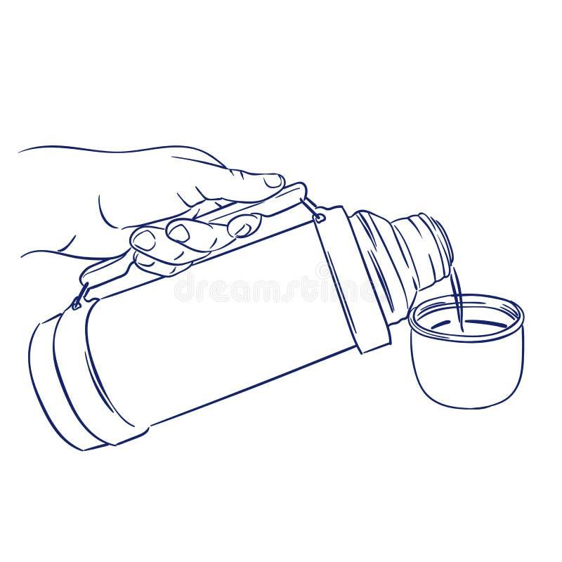 Hällande kaffe från termoset royaltyfri illustrationer