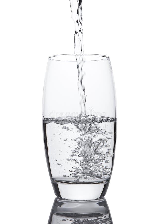 Hällande kallt nytt sunt lugnt vatten till exponeringsglas arkivfoto