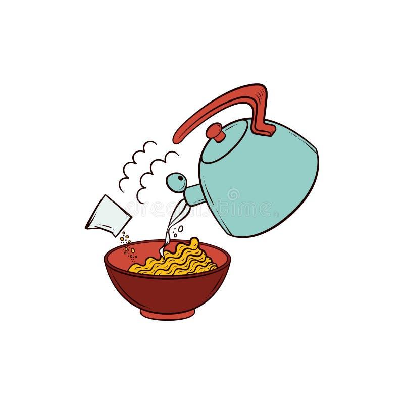 Hällande kokande vatten in i bunken av den ögonblickliga nudeln royaltyfri illustrationer