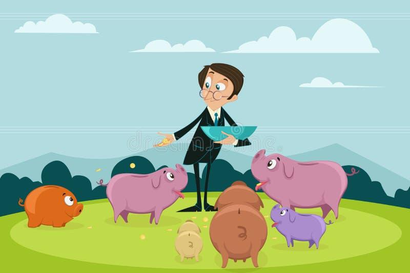 Hällande mynt för affärsman in i olika Piggybank royaltyfri illustrationer