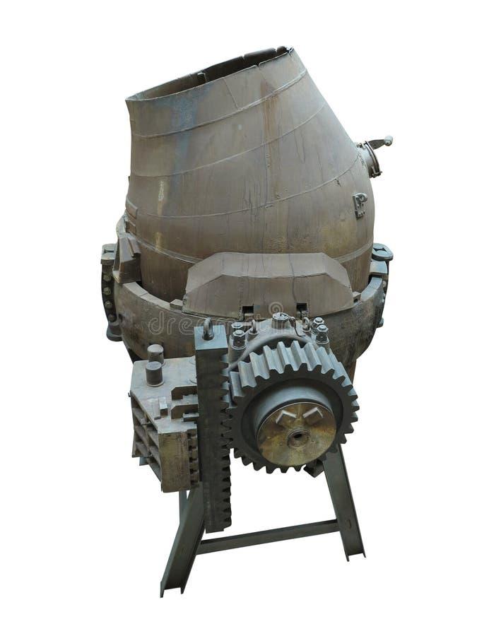 Hällande omformare för industriell stålproduktionsutrustning som isoleras över vit arkivbilder