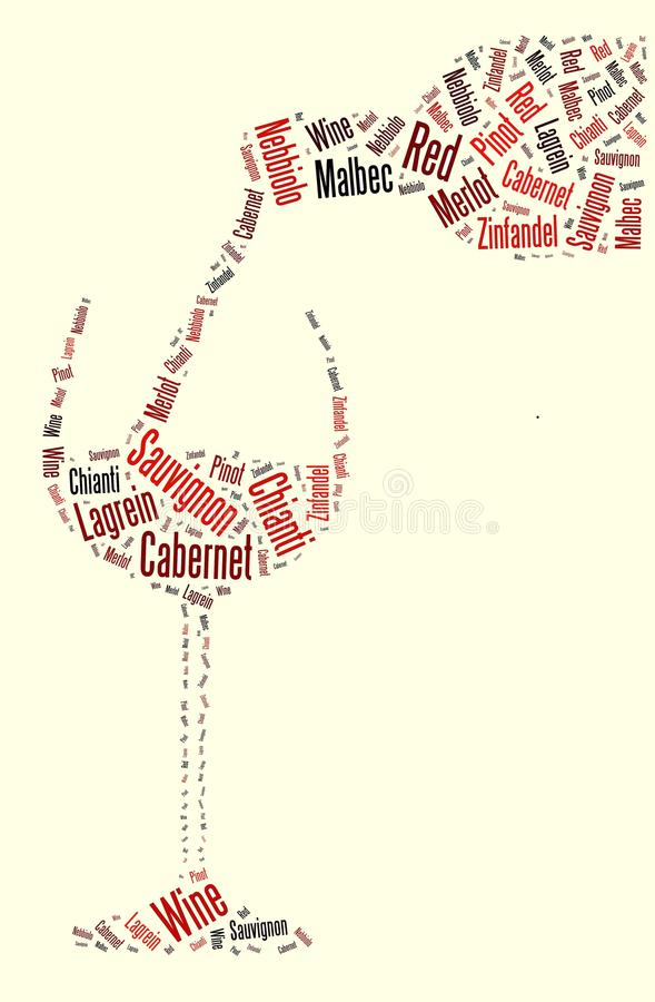 hällande rött vinord stock illustrationer