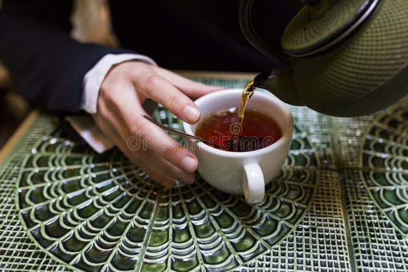 Hällande te för ung kvinna i en kopp royaltyfri foto