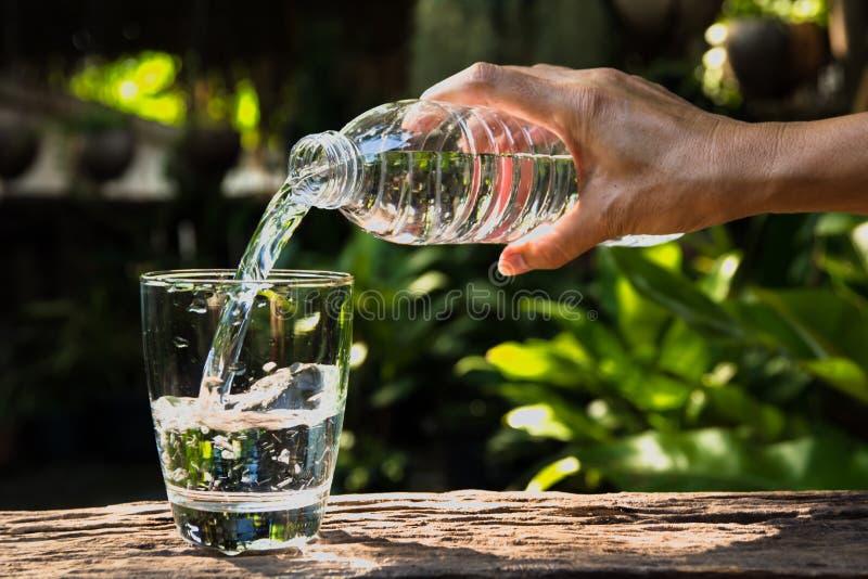 Hällande vatten för kvinnlig hand från flaskan till exponeringsglas på naturbackgro royaltyfria bilder