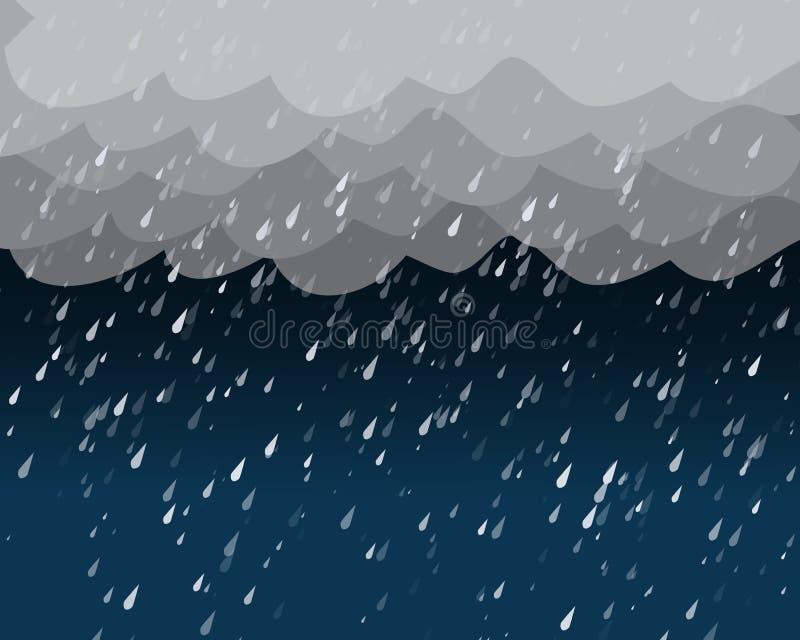 Hällregn i mörk himmel, vektor royaltyfri illustrationer
