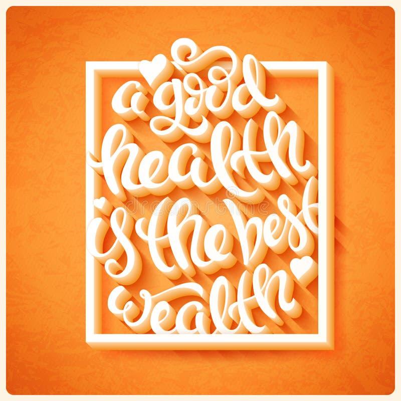 Hälsa är den bästa rikedomen vektor illustrationer