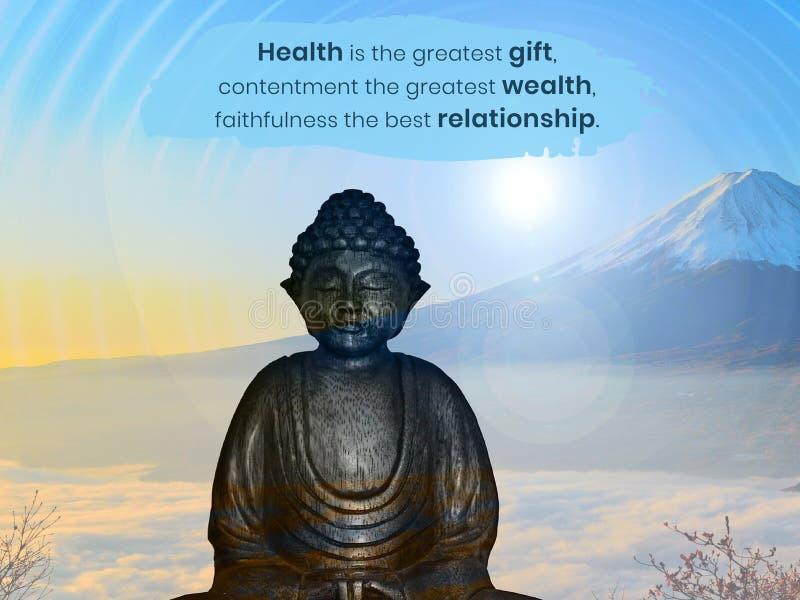 Hälsa är den största gåvan, belåtenhet den största rikedomen, trofasthet det bästa förhållandet royaltyfri illustrationer