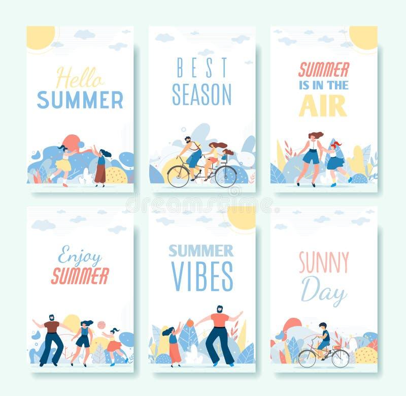 Hälsa den plana uppsättningen för tecknad filmsommarkort med folk vektor illustrationer
