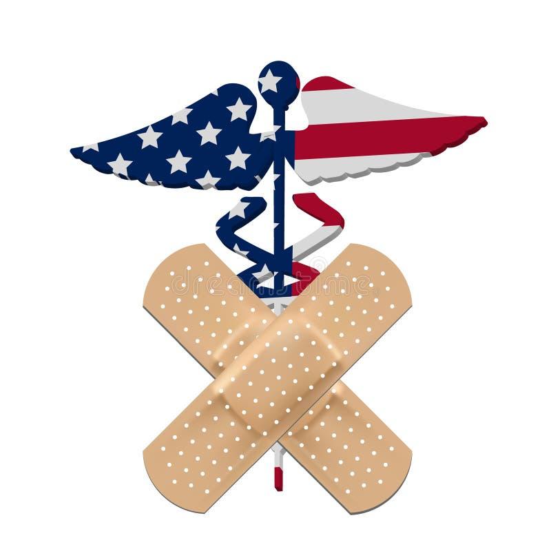 hälsa för flagga för billcaduceusomsorg oss vektor illustrationer