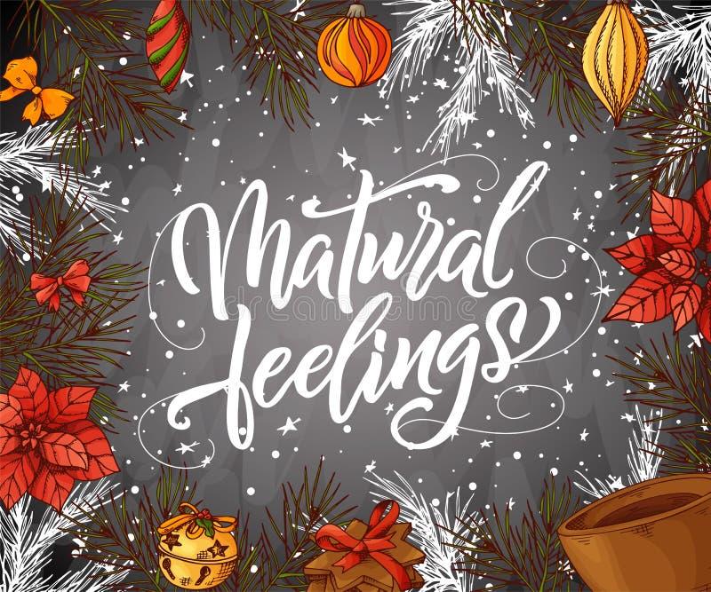 Hälsa för jul för hand skriftligt Semestra kortet skissar in stil med beståndsdelar Design för inbjudantappningkrita med modernt stock illustrationer