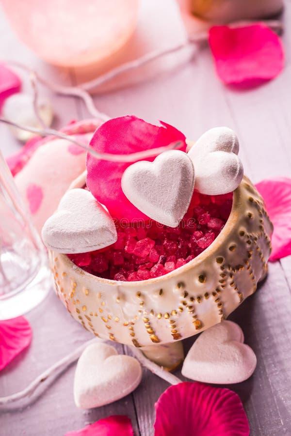 Hälsa för kropp för förälskelse för hjärta för dag för Spa sammansättningsvalentin royaltyfri foto