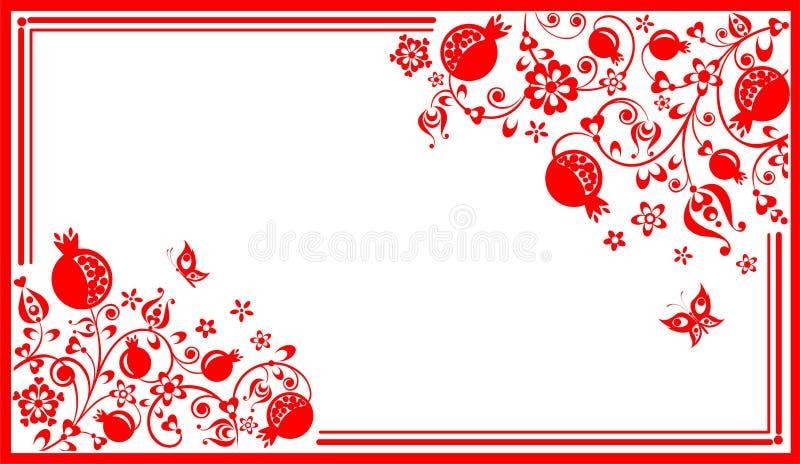 Hälsa horisontalkortet med den blom- etniska röda dekorativa modellen med det abstrakta granatäppleträdet, frukt, blommor och fjä royaltyfri illustrationer