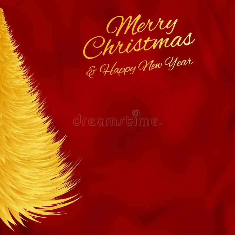 Hälsa julkortet med det guld- julträdet på röd bakgrund royaltyfri illustrationer