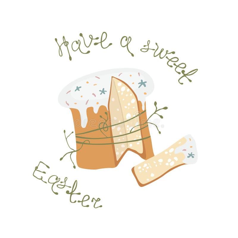 Hälsa kort-illustrationen med påskkakan vektor illustrationer